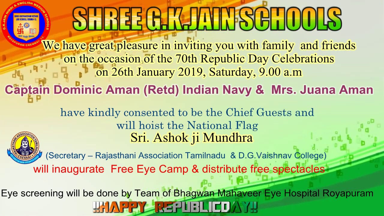Republic Day 2019 Invitation G K Jain Schools Chennai Youtube