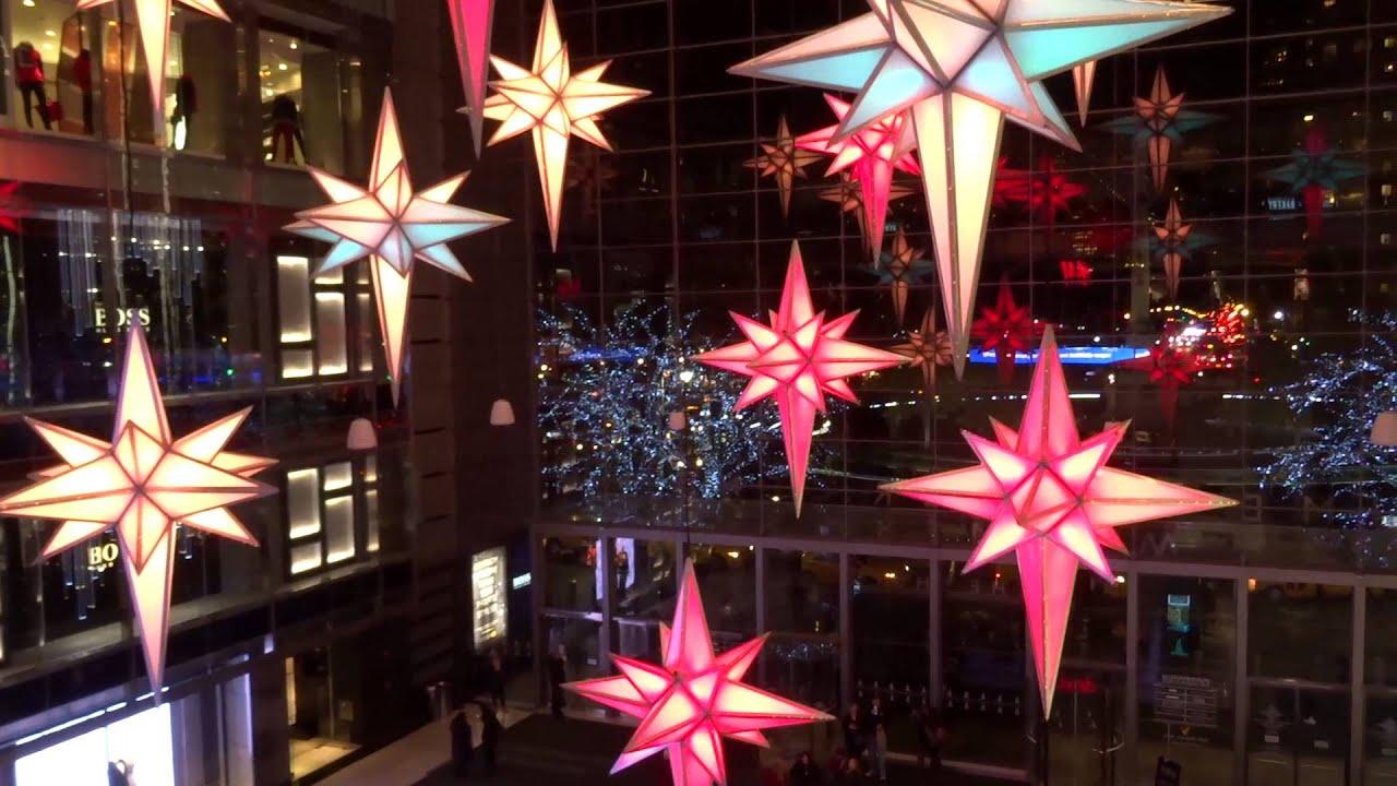 New York Christmas 2015 Shops at Columbus Circle Light Show - YouTube
