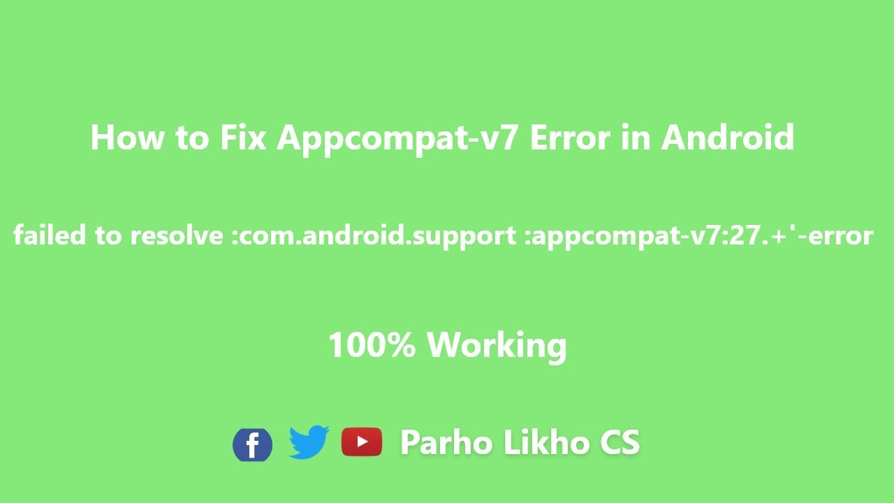 failed to resolve :com android support :appcompat-v7:27 +'-error 2018  android studio tutorial by Parho Likho CS