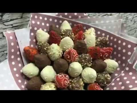 Клубника в шоколаде в виде букета