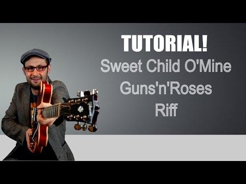 1 MINUTE TUTORIAL – SWEET CHILD O'MINE RIFF – GUNS'N'ROSES – GUITAR LESSON
