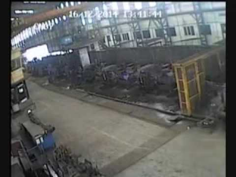 Watch a rope of molten steel barely miss a worker