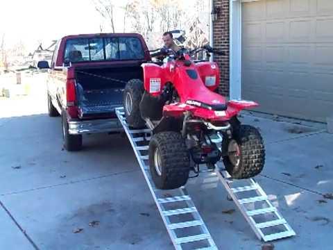 One Man EZ Load - loads an ATV onto a pickup truck - YouTube