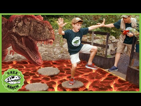 T-Rex Dinosaur & Floor Is Lava! Pretend Play Escape With Dinosaurs At Gulliver's Park For Kids