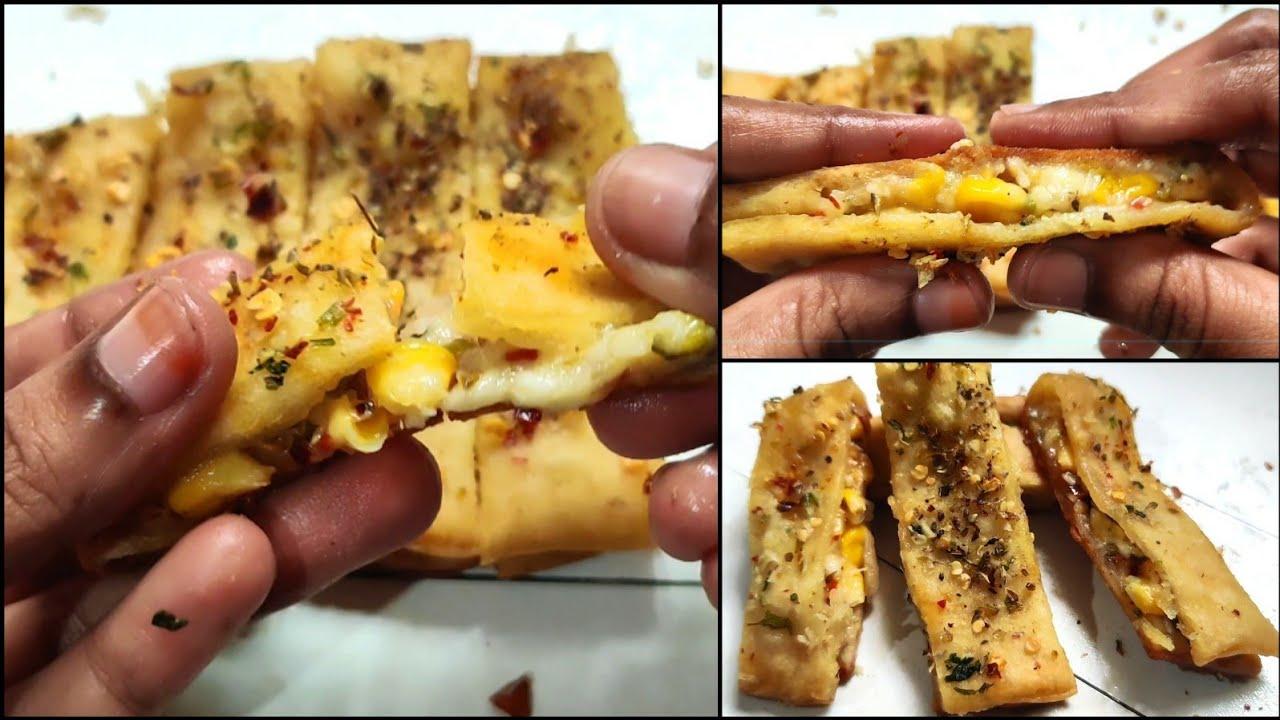 Stuffed Garlic Bread Recipe   Garlic Bread Without Yeast ...