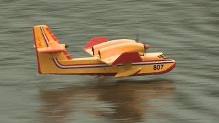 RC Foam Canadair Hydroplane Flying fron Grass and Water 18 January 2014