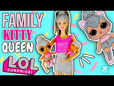 KITTY QUEEN Family LOL SURPRISE Doll Tutorial | Custom Little Sister, Barbie, Mom DIY