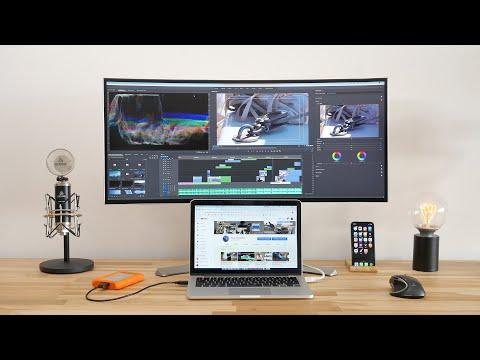 My MINIMALIST Video Editing SETUP With ULTRAWIDE Monitor & MacBook Pro