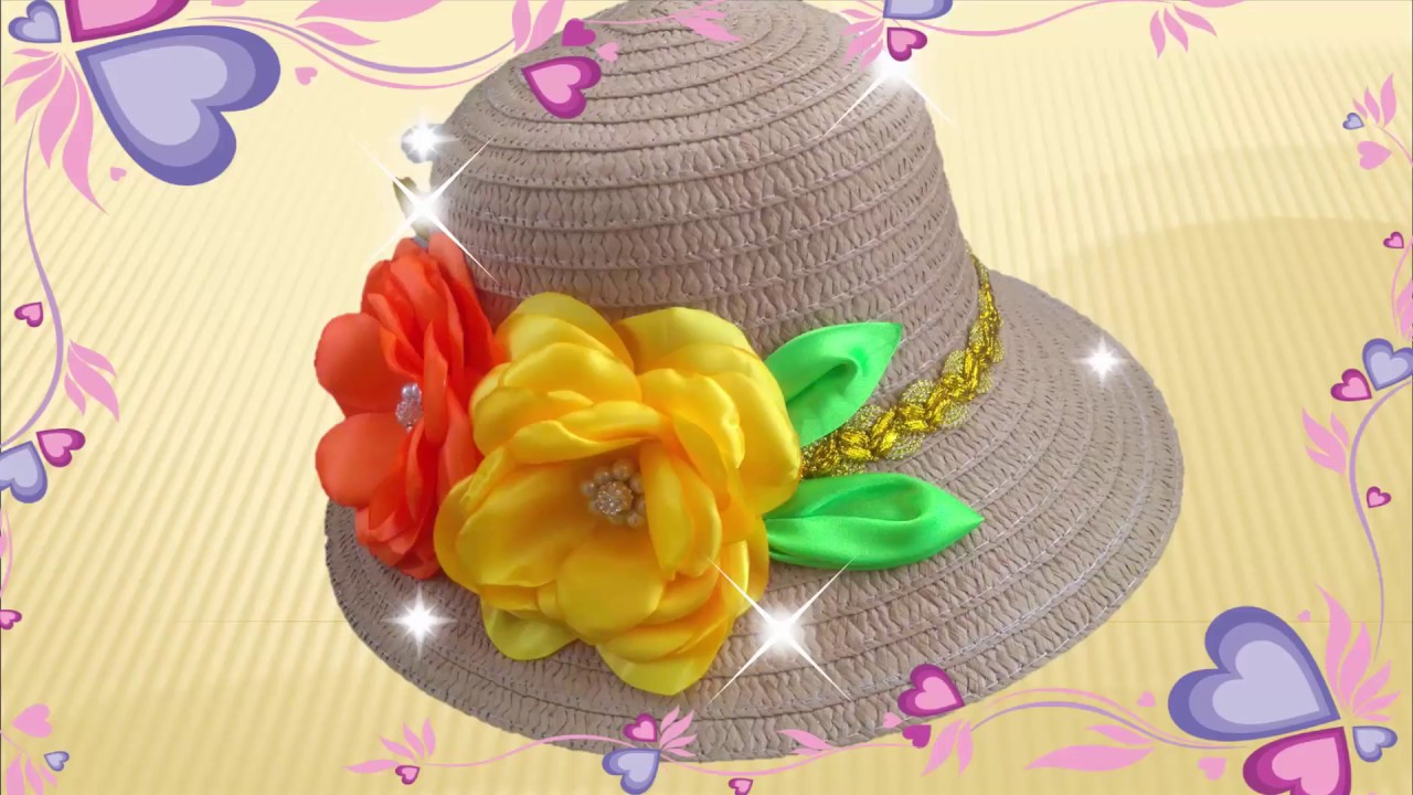 diy decoracion de sombrero con flores en tela how to