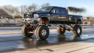 "SKY HIGH SUPER DUTY! F350 ROLLING COAL! 46"" MICKEYS! DRAG RACING DAILY DRIVER! BYRON DRAGWAY!"