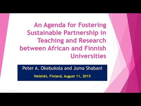 Partnership between African and Finnish Universities- Peter A. Okebukola
