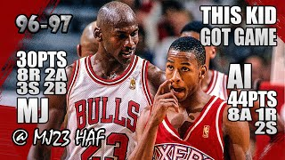 Michael Jordan vs Allen Iverson Highlights (1997.04.07) - 74pts Combine! Bulls Got No ANSWER for AI!