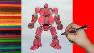 How to draw robot Fat Boy, Real Steel, Как нарисовать робота Фат Бой