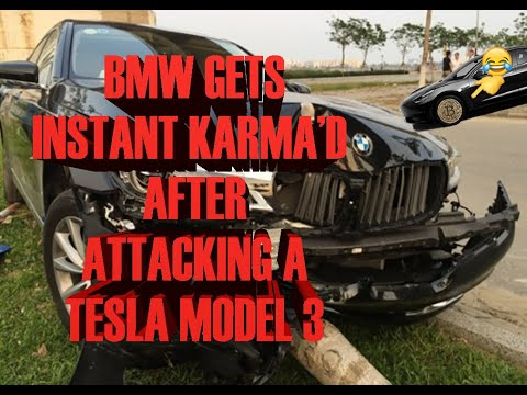 Tesla Dashcam captures instant karma after angry driver assaults Model 3