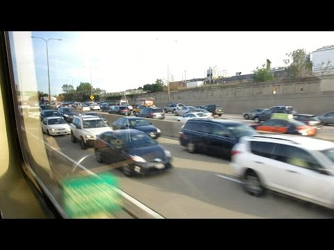 CTA Blue Line ride along congested Kennedy Expressway