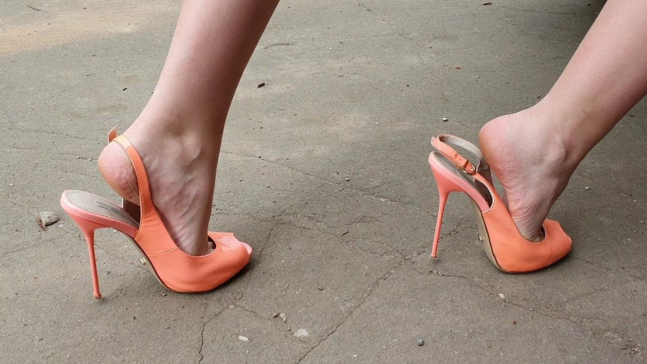 high heels walks with straps down, girl push the car, shoeplay, high heels walking (scene 292)