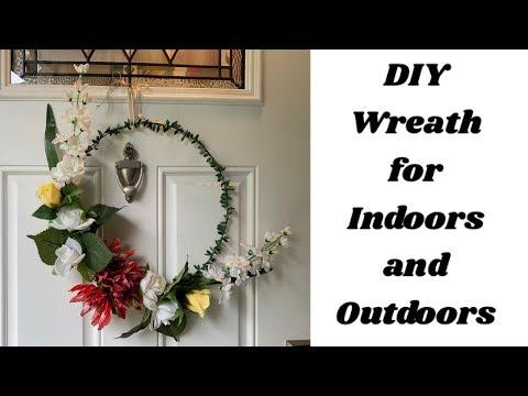 DIY Wreath for Indoors and Outdoor | Easy Homedecor 2019|DIY Hoop wreath