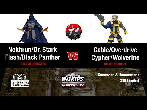 HeroClix - Nekhrun/Dr.Stark/Flash vs Cable/Cypher/Wolverine - Common/Uncommons Game