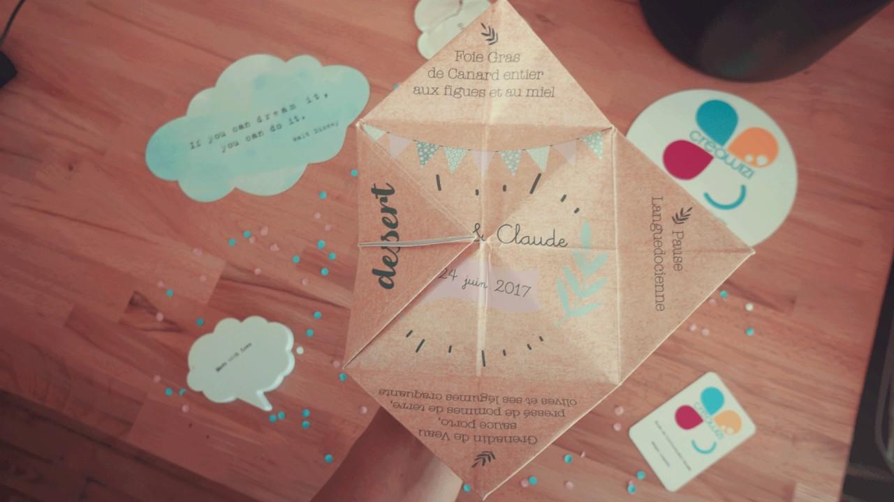 Frais Menus de Mariage en cocotte origami Creawizi - YouTube SR24