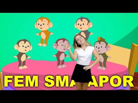 Barnsånger med handrörelser | Fem små apor hoppade i sängen | Barnsånger  på svenska