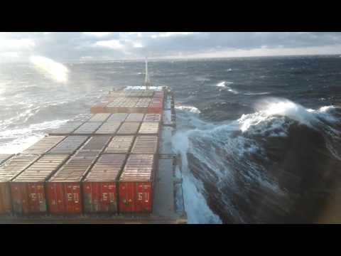 Ship in Baltic sea wind force 9