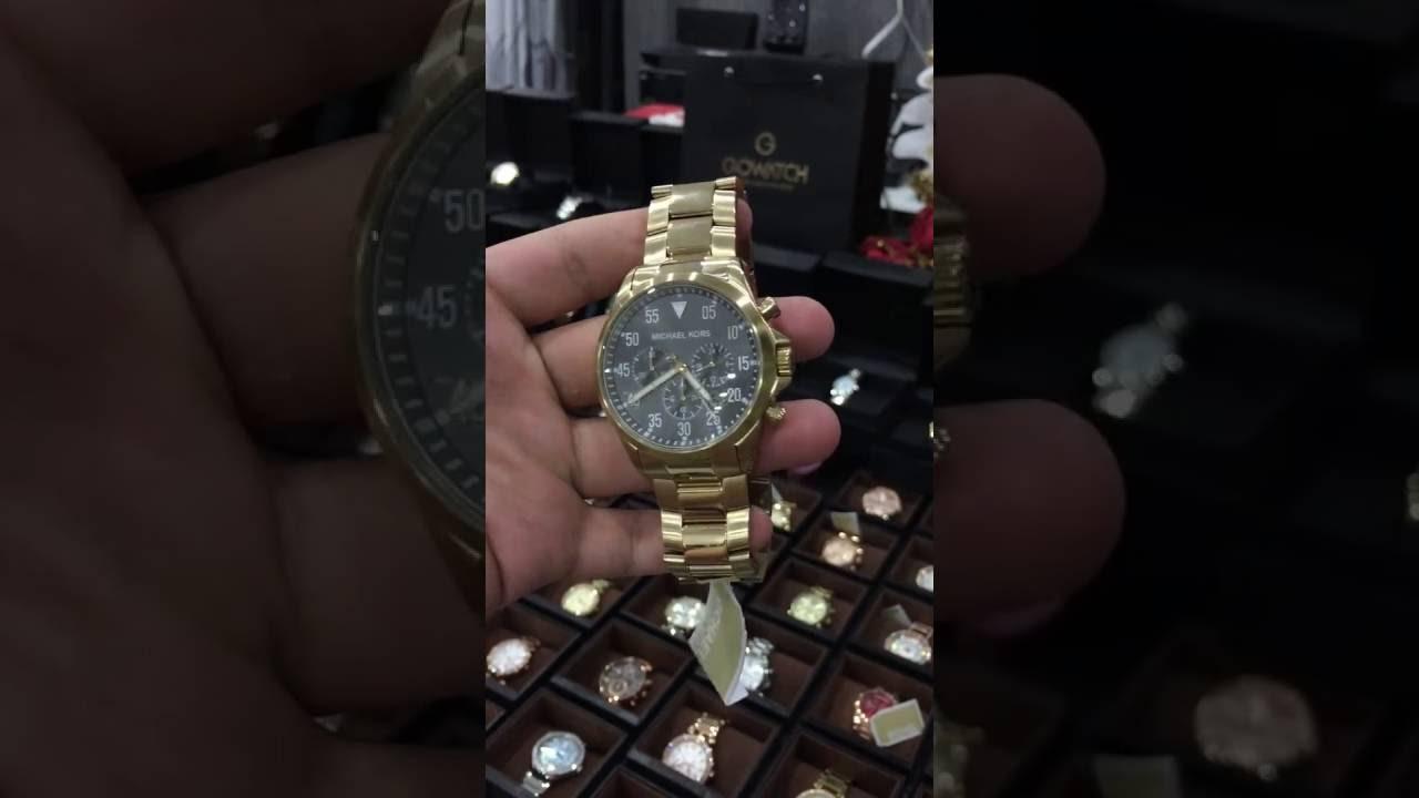 71469d898210 Michael Kors Gage Chronograph Black Dial Gold-tone Mens Watch MK8361 ...