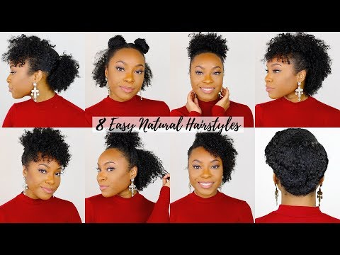 8 QUICK & EASY Hairstyles for Short/Medium Natural Hair | Perfect for Type 4 Hair!! thumbnail