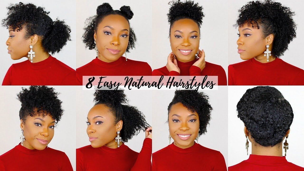 8 Quick Easy Hairstyles For Short Medium Natural Hair Perfect For Type 4 Hair Youtube