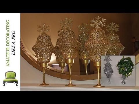 DIY Dollar Tree Dollar Tree Glitter Lanterns & Glitter Reindeer On Canvas