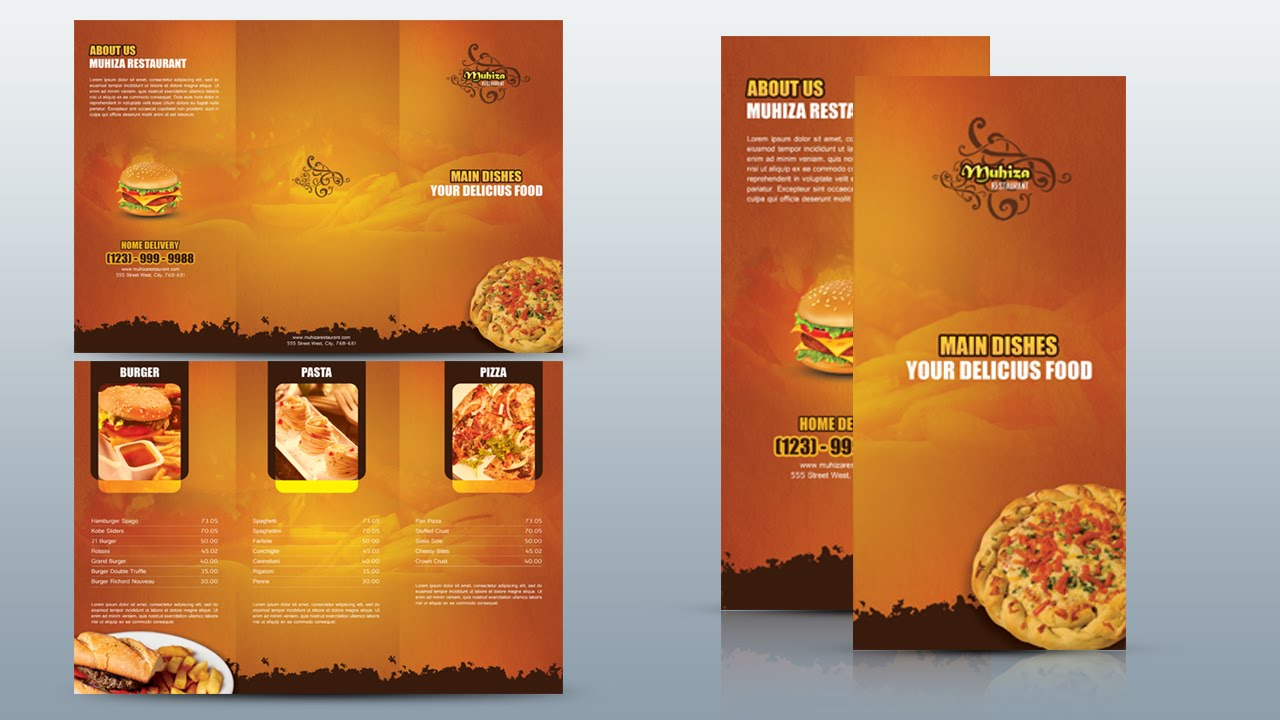 Create a tri fold restaurant brochure photoshop tutorial for How to design a brochure in photoshop