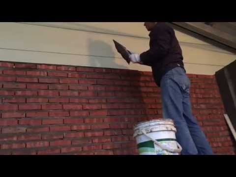Cement Rendering on Brick Walls with Plastic Trim - First Coat