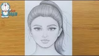 How to draw a pretty girl with ponytail hairstyle || Pencil Drawing || art video || Face Drawing