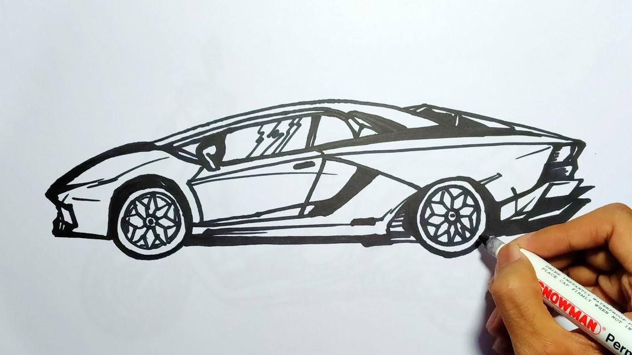 Cara Menggambar Super Car Lamborghini Aventador Youtube