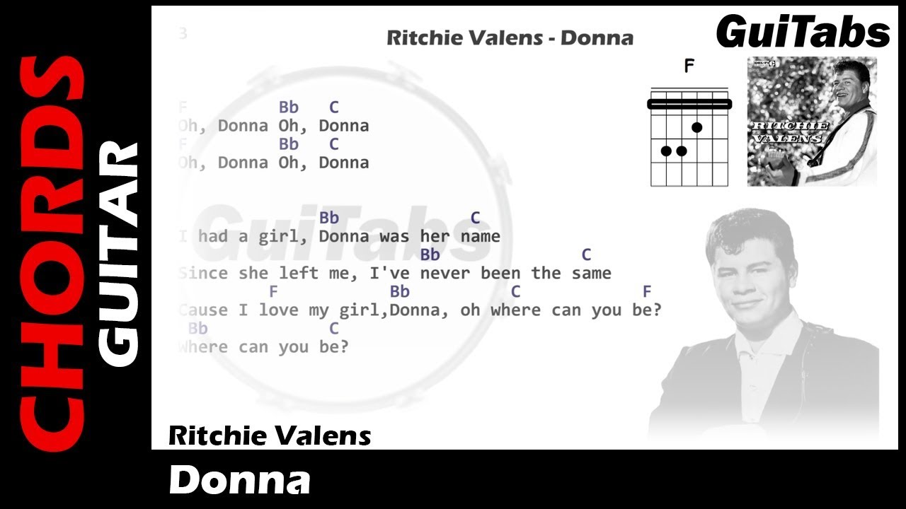 Ritchie Valens Donna Lyrics And Guitar Chords Youtube