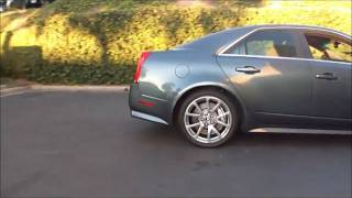 Modded 2009 Cadillac CTS-V doing a burnout 700hp+