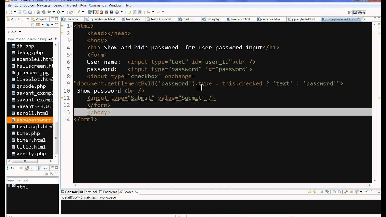 Javascript example checkbox to show and hide password for user password input youtube