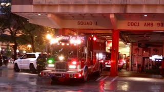 Chicago Fire Dept Squad 1, 1A , Engine 42 And Truck 3 Returning To Quarters 55 W Illinois St