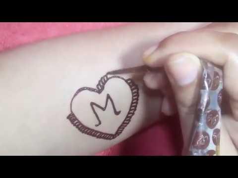 Beautiful Alphabet M Tattoo Mehndi Design Stylish And