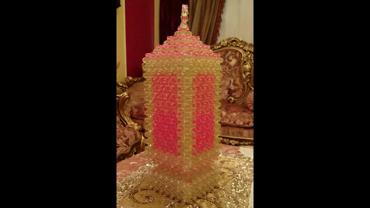 طريقة عمل فانوس كبير مربع مقاس 16 من الخرز هنا قنديل Beading Tutorials Bead Crafts Crochet Jewelry