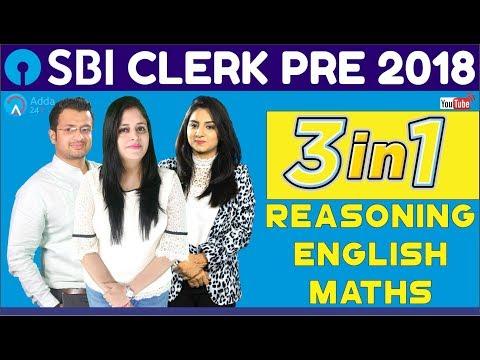 SBI CLERK PRE 2018 | 3 In 1 ( Reasoning + Maths + English  ) | Online Coaching For SBI