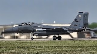 F-15E Strike Eagles Taxi & Takeoff • Seymour Johnson AFB