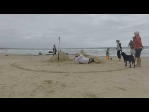 Making the Sand Sculpture at Cape Conran 2017