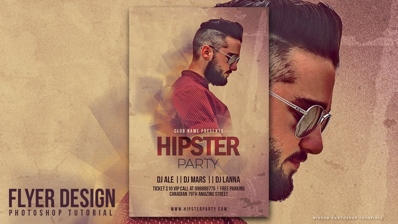 how to design a hipster party flyer in photohsop youtube