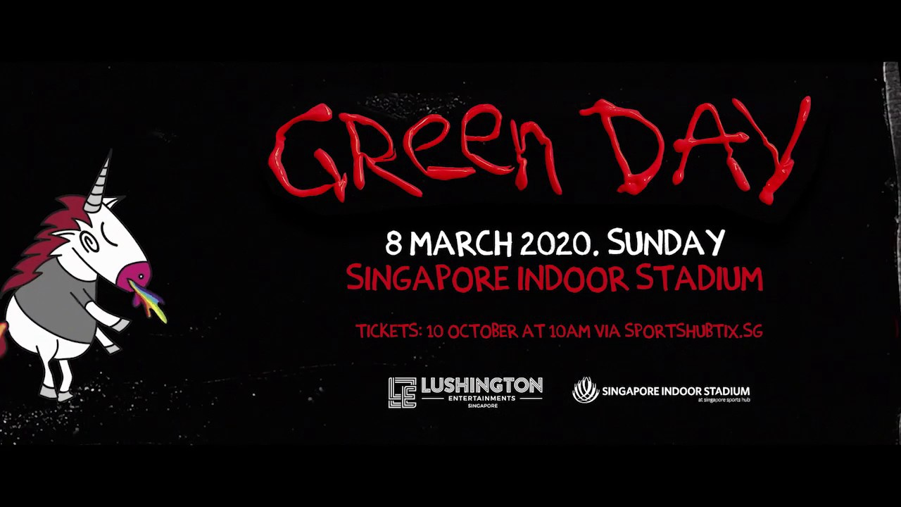 Green Day Tour 2020.Green Day Live In Singapore 2020