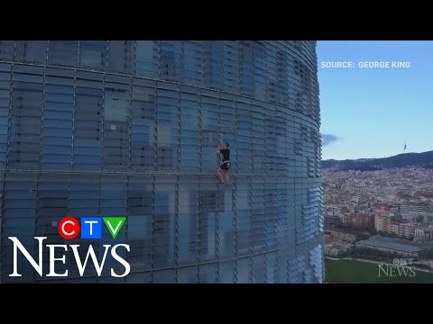 Extreme athlete climbs 33-storey building in Spain