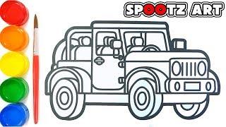 Cara Menggambar dan Mewarnai Mobil Jeep mainan