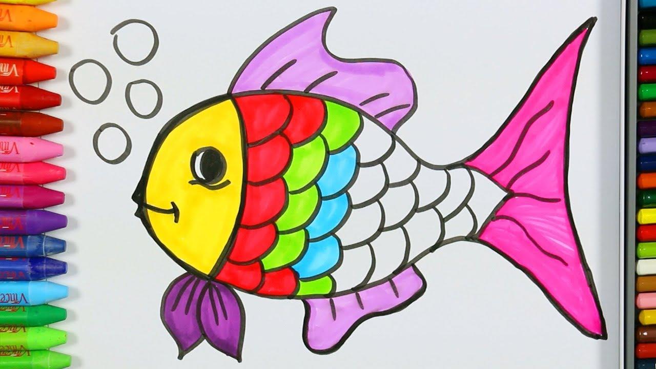 Página para colorear peces💦| Cómo dibujar y colorear peces ...