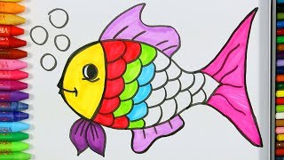 Página para colorear peces💦| Cómo dibujar y colorear peces | Pintura de pescado | Aprender colorear thumbnail