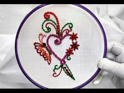 Hand Embroidery - Heart Frame Design (Butterfly and Cute Flower) and ...