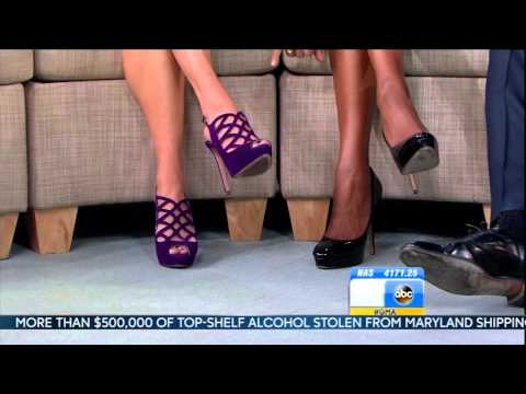 Amy Robach & Lara Spencer & Ginger Zee - close up high heels & hot legs